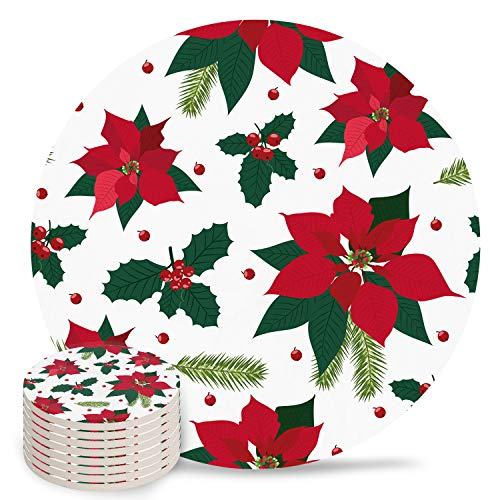 8-Piece Set Ceramic Coasters for Drinks,Christmas Vintage Red Floral Christmas Berry Unique Absorbent Round Ceramics Cork Backed Cup Mat for Home/Housewarming Gift