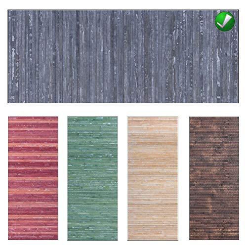Parpyon® - Alfombra de cocina antideslizante, lavable, de bambú, alfombra por metro, para interior y exterior, alfombras de baño, entrada, multiusos, resistente, acabado decapado Shabby Chic