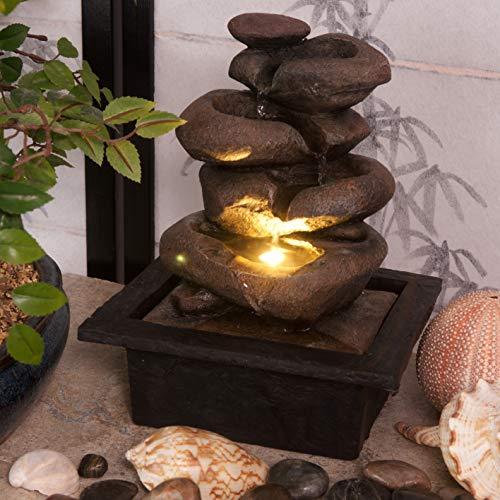 Creative Touch Zen Flow - Fuente de agua para interiores con luz LED, tamaño 21,5 x 19 x 27 cm, enchufe de Reino Unido de 3 pines incluido
