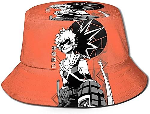 HESMENO My Hero Academia Katsuki Bakugo Bucket Hat Unisex Sombrero de sol Protección Gráfica Plegable Sombrero de Pesca