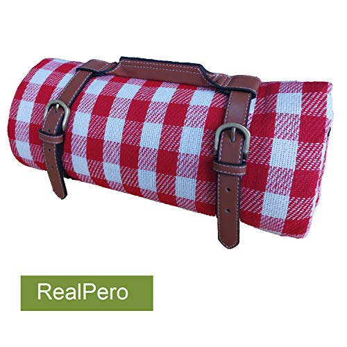 Purchase RealPero Extra Large Picnic Blanket Family Size High-end Fabric with PU Carrier Classic Red...