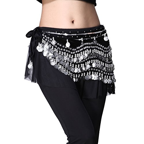 ZLTdream Women's Belly Dance Wave Shape Hip Scarf With Silver Coins Black