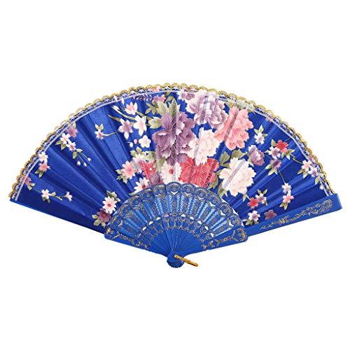 Ventilator Faltventilator Fan, Beste chinesische Art Tanzhochzeitsfeier Spitze Seide Falten Hand gehalten Blumenfächer dekorativer Fan, Retro Fan, Tanz Fan