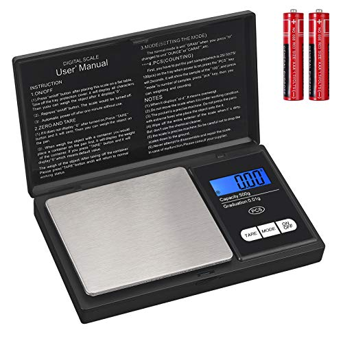 Báscula Digital Portatil Báscula de Precisión 0.01g a 500g Mini Báscula Electrica...