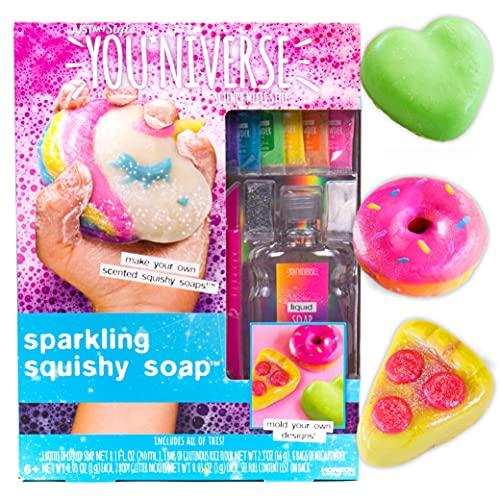 Youniverse Make Your Own Sparkling Squishy Soaps by Horizon Group USA, DIY 5 Colorful Unicorn, Doughnut, Heart, Smiley Face, Pizza Squishy Soap, Multicolored