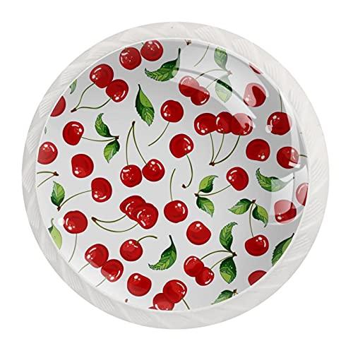 Cerezas, Perillas para el aparador Cajones de Cristal de Gabinete Manija de Hardware para el Hogar Oficina Dormitorio Salón Baño con Tornillos Paquete de 12