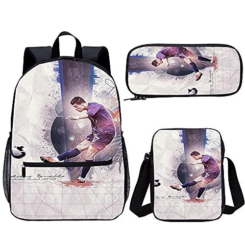 Mochila de moda adolescente Cristiano Ronaldo Trajes de tres piezas Bolsas de viaje para niñas y niños y mochilas para niños (45 x 30 x 15 cm) Mochila impresa en 3D