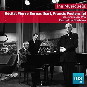 Récital Bernac, Poulenc, Festival de Bordeaux