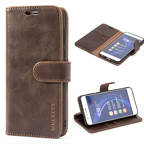 Mulbess Honor 8 Protective Cover, Magnetic Closure RFID Blocking Luxury Flip Folio Leather Wallet Phone Case with Card Slots and Kickstand for Huawei Honor 8, Coffee Brown