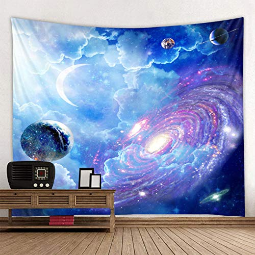 m u Universe starry sky decoration psychedelic tapestry wall hanging hippie tapestry polyester fabric home decoration wall carpet carp Non-Woven Fabric 200 * 150Cm Tapestry MU