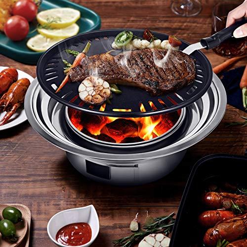 KOSIEJINN Mini barbecue au charbon de bois en acier inoxydable pliant portable rond poêle à barbecue pour la cuisine en plein air Camping randonnée pique-niques Tailgating sac à dos