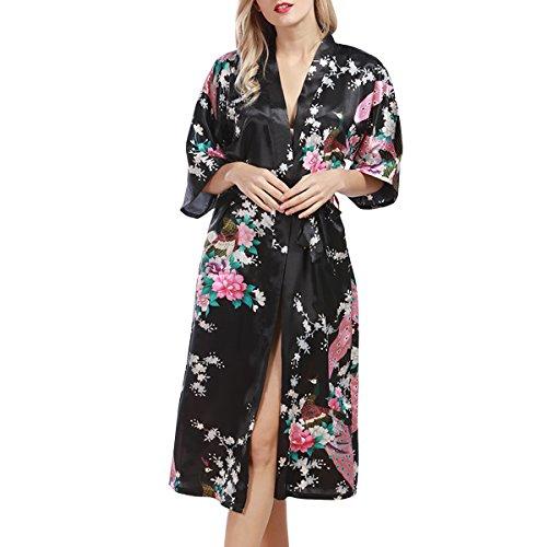 Sidiou Group Bata de Satén Vestido Kimono Largo Mujer Camisón Pijamas Ropa de Dormir Albornoz Saten (Negro, S)