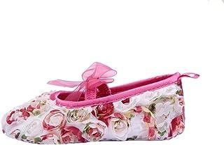 [つきハス] Yuelian(TM) ベビーシューズ 可愛い レースリボン付 ファーストシューズ 軽量タイプ フラワー お姫様 子供靴