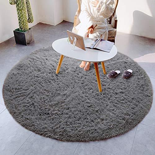 Alfombras mullidas súper Suaves, alfombras de Terciopelo, alfombras Redondas, Hermosas alfombras de Dormitorio mullidas, adecuadas para Cojines de sofá de baño (Gris, 100x100cm)