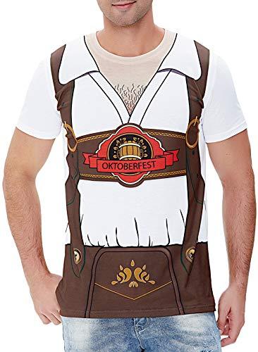 COSAVOROCK Disfraz de Bávaro Alemán Oktoberfest para Hombre Camiseta de Lederhose...