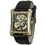 SEWOR da uomo carica manuale meccanico cava orologio da polso con Fasion design e pelle (Nero)