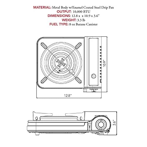 Gas ONE New 10,000 BTU CSA List Portable Butane Gas Stove with Carrying Case CSA Listed 4