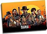 Red Dead Redemption 2 Lienzo decorativo de pared de 40,6 x 30,5 cm, enmarcado John Marston & Arthur Morgan Canve Art para niños y niñas dormitorio, estirado y listo para colgar