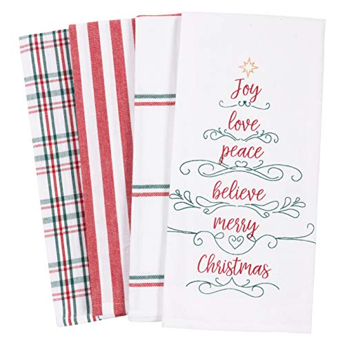 KAF Home Pantry Kitchen Holiday Dish Towel Set of 4, 100-Percent Cotton, 18 x 28-inch (Joy Love Peace Believe Merry Christmas Tree)