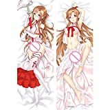 Anime Pillow Cover Sword Art Online Sexy Yuki Asuna Body Pillow Cover Anime Sodo Ato Onrain Yuuki Asuna Dakimakura Pattern Peach Skin/2WT Throw Pillow Case Otaku Anime Fans' Favorite Cushion Covers
