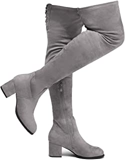 CARAA Women's Suede Thigh High Stretchy Boots- Block Heel...