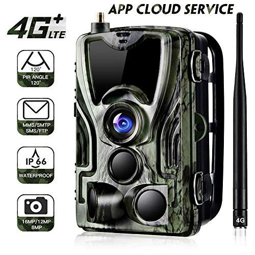App 4G Wildkamera 20MP 1080P 3G GSM Jagdkamera, 0,3s Auslösezeit, Infrarote 30m 940nm IR LED IP65 Wasserdicht ,Fotos ,Farbvideo und Audio können international übertragen Werden.