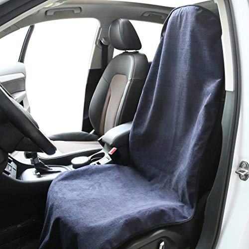 Sweat Towel Seat Cover for Front Seat,Car Seat Cushion Protector, Fit After Yoga Running Crossfit Athletes Beach,Dark Blue (swe-001)