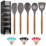 Premium 5 Piece Silicone Utensils Set with Authentic Acacia Hardwood Handles, All Purpose Silicone...