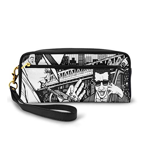 Pencil Case Pen Bag Pouch Stationary,Illustration of Jazz Band Playing The Blues in New York in The Moonlight Retro Decor,Small Makeup Bag Coin Purse