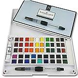 SCHPIRERR FARBEN Art Supplies Watercolor Paint Set, Travel Watercolor Kit, 48 Watercolor Paint, 20 Sheets 300gsm Watercolor Paper, 2 Watercolor Paint brushes, 1 Mixing Watercolor Paint Palette