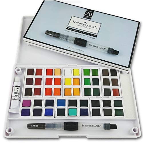 SCHPIRERR FARBEN Art Supplies Watercolor Paint Set - Travel Watercolor Kit: 48 Watercolor Paint, 20 Sheets 230gsm Watercolor Paper , 2 Watercolor Paint brushes, 1 Mixing Watercolor Paint Palette