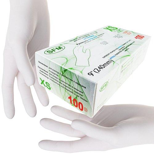 SFM ® SUPERSOFT Nitril : XS, S, M, L, XL weiß puderfrei F-tex Einweghandschuhe Einmalhandschuhe Untersuchungshandschuhe Nitrilhandschuhe XS (100)