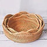 QZH Cestas de Pan de Mimbre para Frutas de Vegetales Almacenamiento de Alimentos Organización de la Cocina Contador de la Pared Cesta Redonda de ratán Natural,3 Piece Set