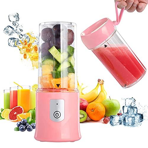 Mini frullatore portatile 2 in 1, senza BPA, con 320 + 350 ml, per sport e viaggio, 6 lame frullatore frullatore frullato e frullatore mini (rosa)
