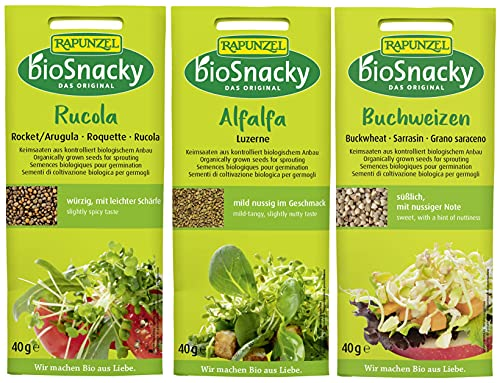 bioSnacky Sprossen-Mix   Rucola, 40g - Alfafa Luzerne, 40g - Buchweizen, 40g   Bio Keimsprossen