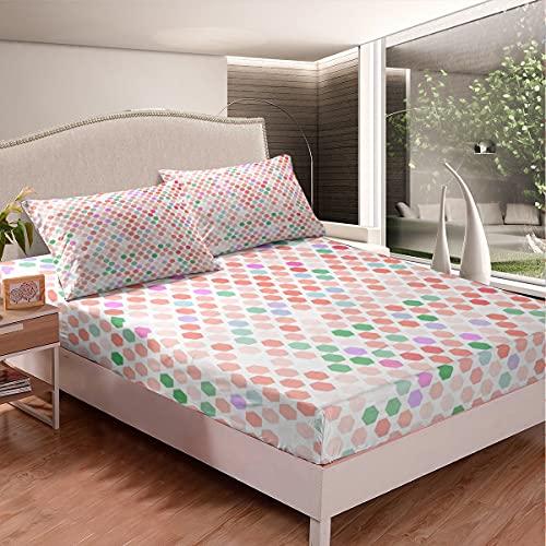 Juego de sábanas de nido de abeja colorido juego de sábanas geométricas hexagonales para niños niños niñas geometría abstracta cubierta de cama de microfibra, tamaño King