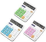 Calcolatrice,Liuer 3PCS Standard Calcolatrice da Tavolo Funzionale Calcolatrice Da Tavolo Desktop Calcolatore Elettronico con 12 Cifre A Grande Visualizzazione LCD per la Scuola Ufficio Studenti