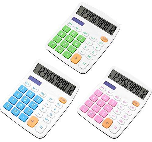 Taschenrechner,Liuer 3 Pack Standard-Taschenrechner 12-stellig Bürorechner Rechenmaschine mit LCD HD Doppellinienanzeige Tischrechner für Schul Büro