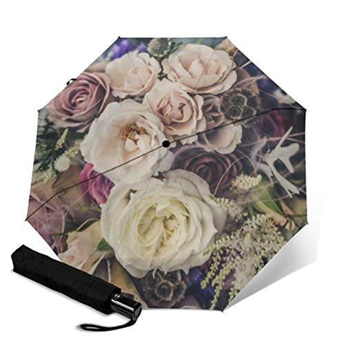 N\A A Prueba de Viento Ligero Paraguas Palo Floral de la Flor Completa de impresión automática Parapluie Rainy portátil Plegable Paraguas a Prueba de Viento Hombres Mujeres Paraguas (Color : YSC1002)
