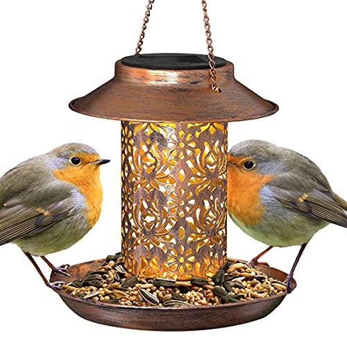 GloBrite Solar Bird Feeder, Bird Feeders for Outdoors Hanging, Heavy Duty Metal Wild Bird Feeders with Light for Garden Yard Outdoor, Unique Lantern Shape Vintage Decorative Gifts