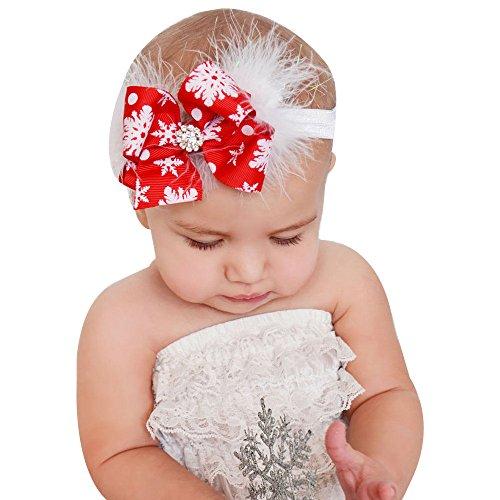 EROSPA® Stirnband/Kopfband für Babys/Kleinkinder - XMAS/Weihnachten/Christmas - Haarband mit großer Schleife - Mädchen - Rot/Weiß