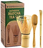 BambooWorx Japanese Tea Set, Matcha Whisk (Chasen), Traditional Scoop (Chashaku), Tea Spoo...