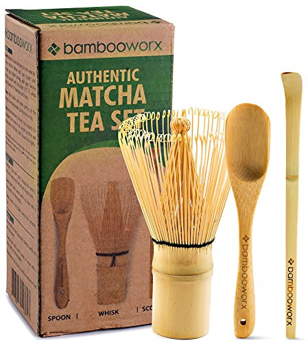 BambooWorx Japanese Tea Set, Matcha Whisk (Chasen), Traditional Scoop (Chashaku), Tea Spoon