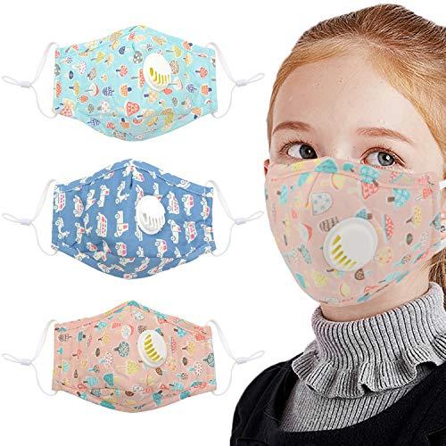3PCS Visera protección máscara Facial de boca Impresión linda Visera protección máscara Facial de algodón a prueba de polvo Visera protección máscara Facial de boca para niños