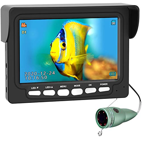 Underwater Ice Fishing Camera, ANYSUN 4.3 Inch IPS Monitor IP68 Waterproof Fish Cam Color HD Video 1000TVL Infrared LED with DVR, Underwater Viewer Gift Gear for Ocean Lake (30m 98ft)