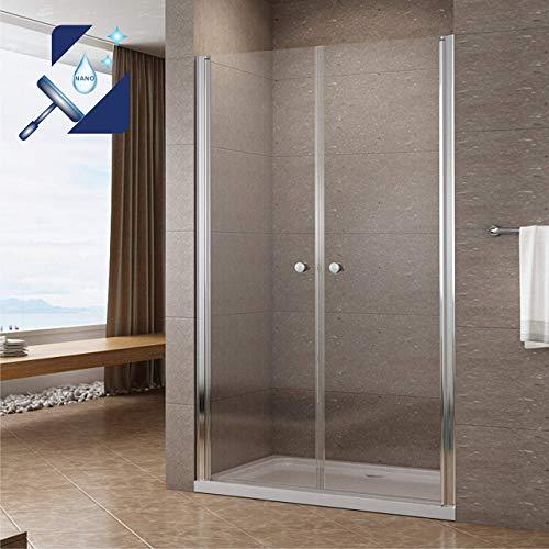AQUABATOS® 110 cm breite Pendeltür Dusche Duschtür Nischentür Schwingtür Verstellbereich 107-110 cm höhe 195 cm aus 6 mm Klarglas ESG Sicherheitsglas mit Nano Hebe-Senkmechanismus