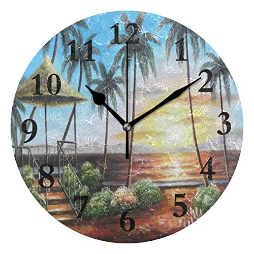 Round Wall Clock Hawaii Straw Hut with Palm Trees On Sunset Acrylic Creative Decorative...