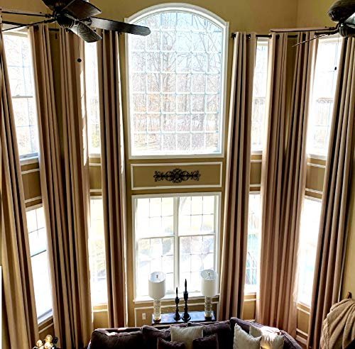 """100 % Blackout Extra Long Linen Curtains. Off White, Beige Cream Gray Custom Made 12-24 feet Length 2 Story Great Room (Honey Wheat, 204"""" Lx50 W)"""