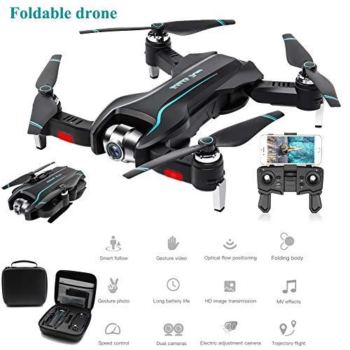 SMUOO Faltbare Drohne Mit Gesten-Video 4K HD-Einstellungskamera,Positionierung Optischen Flusses,Quadrocopter Luftaufnahmen,Geschenke Weihnachtsgeburtstags-Flying-Party,Mehrere Batterien,4Kstoragebag