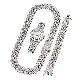 Orologio da uomo con Diamanti Bracciale Hip Hop Cubic Zirconia, Orologio Hip Hop per uomo, Set di gioielli (1 orologio PCS + 1 braccialetto PCS+ 1 Collana PCS)